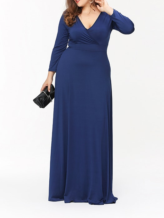 Low Cut Long Sleeve Maxi Dress
