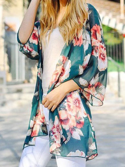 Floral Print Semi Sheer Open Front Cardigan