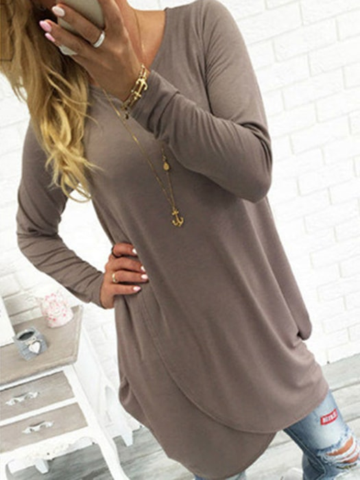 Asymmetry Hem Long Sleeve Loose Dress