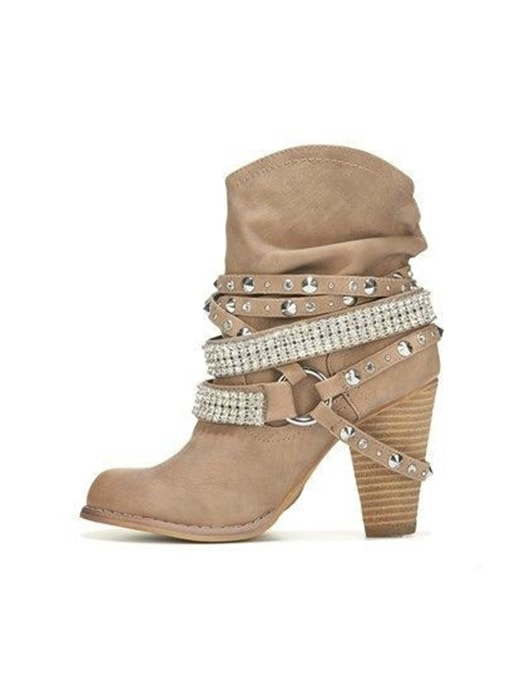 Buckle Round Toe Plus Size Boots