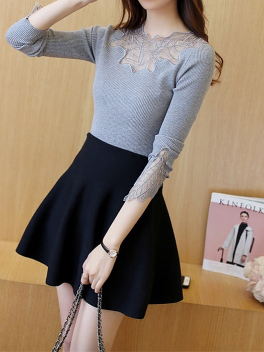 Spliced Mesh Scalloped Knit Sweater