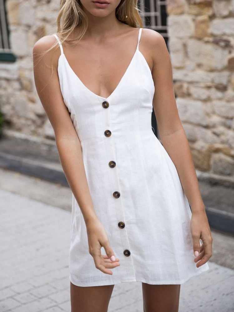 Simple Button-down Slip Dress
