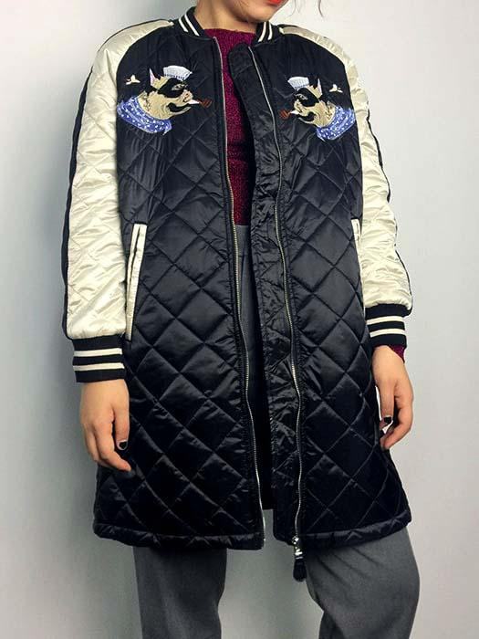 Color Block Quilted Bomber Jacket With Puppies