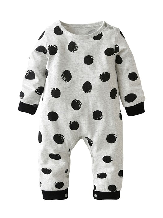 Baby Boy Girl Long-sleeved Clothes With Circle Point Pattern