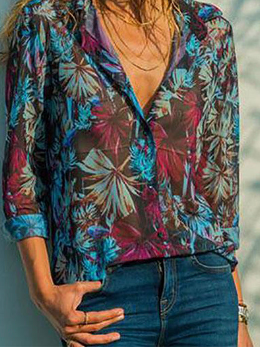 V-Neck Printed Long Sleeve Button Up Blouses