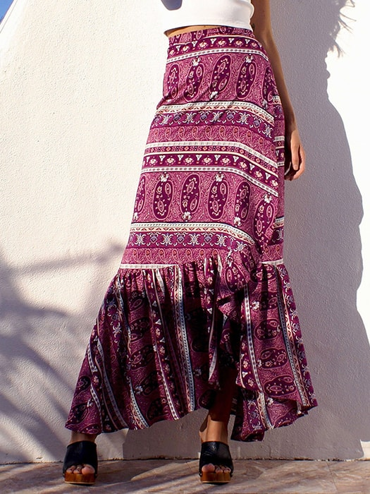 Bohemian Ruffled Split Dress
