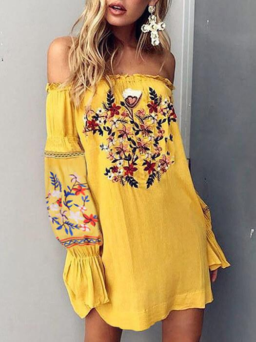 Bohemian Floral Embroidered Off Shoulder Mini Dress
