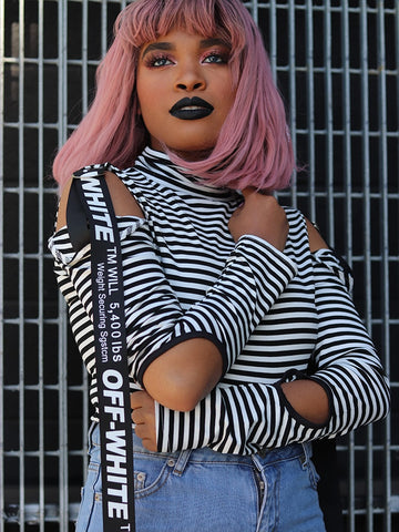 Crew Neck Printed Crop Hoodie With Ribbon Drawstring Cuff In Pink