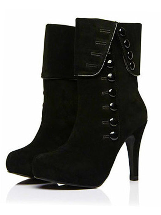 Button Design Suede Boots High Heels Boots