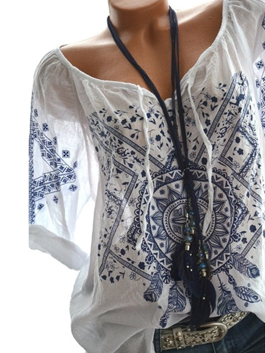 Dream Catcher Print Half Sleeve Tie Top