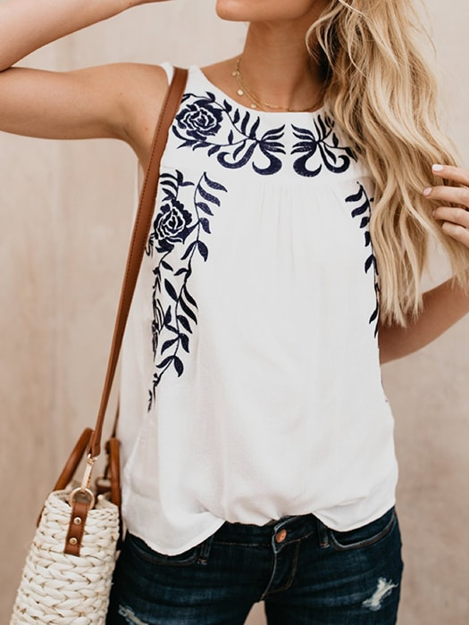 Floral Embroidery Sleeveless Top