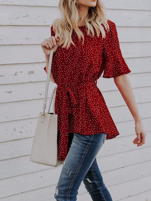 Dot Round Neck Half Sleeve Chiffon Shirt