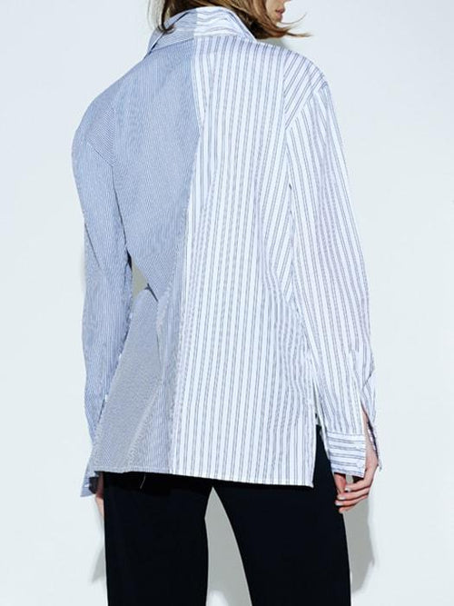 Street Style Spliced Stripe Cotton Top