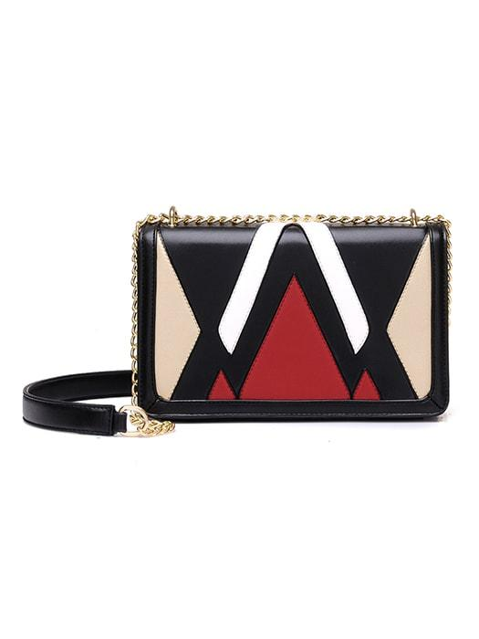 Fancy Color Block Cross Body Chain Bag