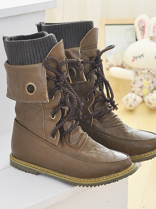 Fashion Half Knee High Lace Up Snow Boots