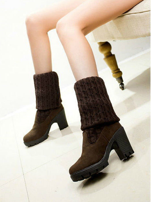 Fashion Knitted Over Knee High Middle Heel Two Ways Boots