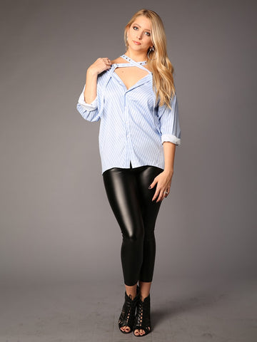 Cut Out Collar Long Sleeve Slim Top