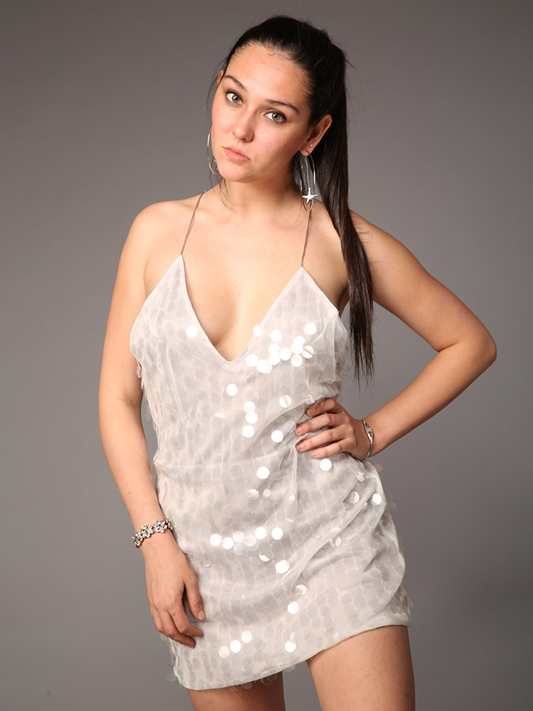 Sexy V-neck Mini A-line Dress In All Over Sequin