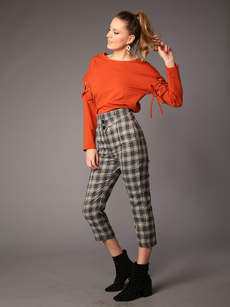 Button Waist Check Wide Leg Trouser