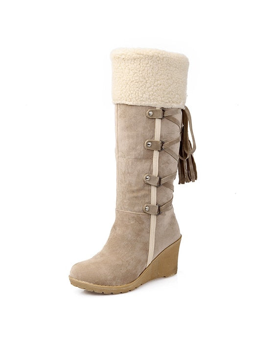 Laced Back Wedge Heeled Boots