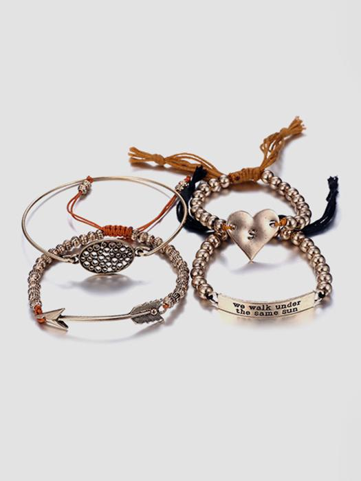 Embellished Beads Hooped Rope Bracelet Set