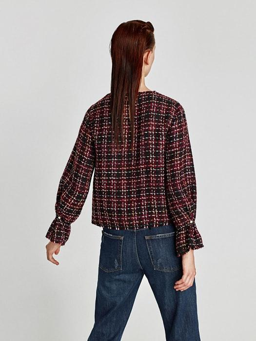 Crew Neck Plaid Pearl Decorated Cuff Top