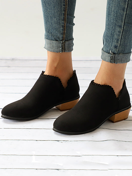 Lace Hem Solid Color Ankle Boot