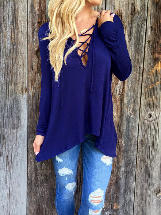 V Neck Lace Up Tie Casual Tops Hoodie Shirt Blouse