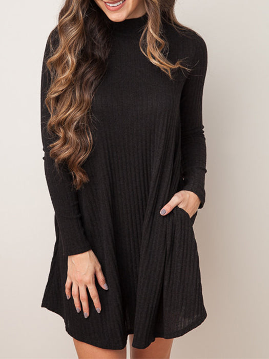 1eff88b2a00 Long Sleeves Side Pockets Ribbed Sweater Dress – WhatsMode