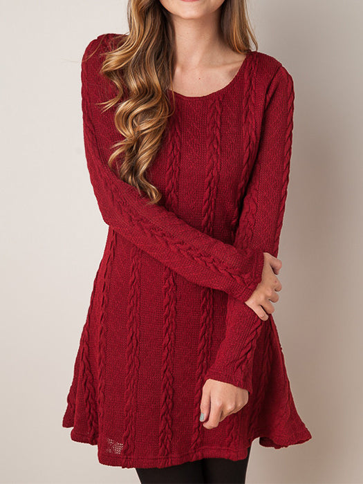 Causal Long Sleeve Loose Knitted Dresses