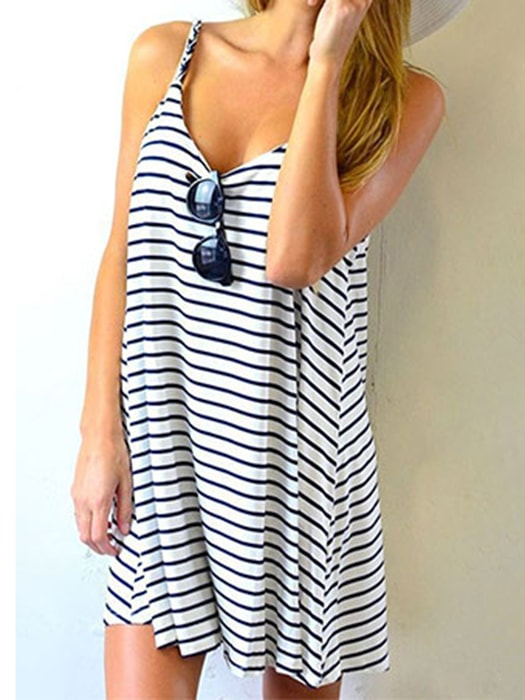 ccb7667a7a Sleeveless Black And White Stripe Loose Strip Dress – WhatsMode