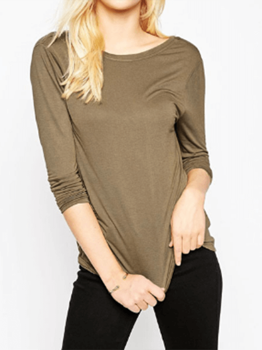 Backless Round Neck Loose Knit Top