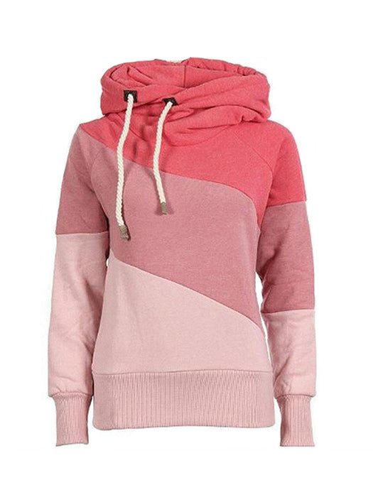 Color Block Design Drawstring Simple Style Long Sleeve Casual Thicken Hoodies