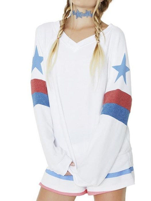 Boyfriend V-neck Star Sweatshirt