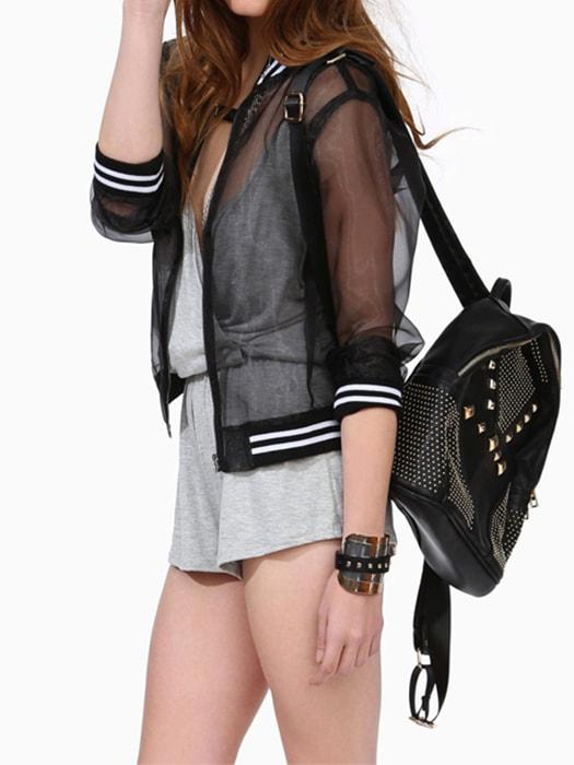 See-Through Jacket With Blocked Stripes In Black