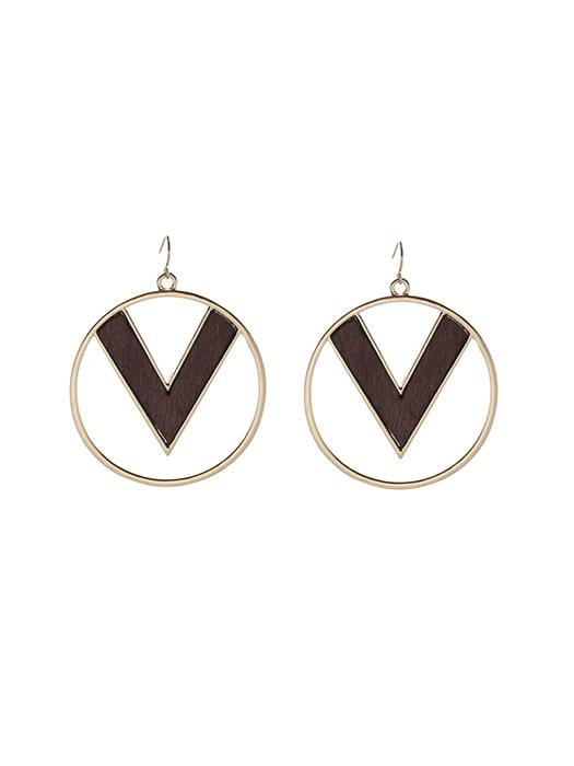 Metal Hoop Earrings with Inlaid Wood
