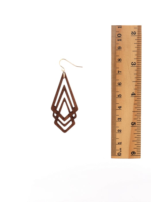 Diamond Pack Wooden Drop Earrings