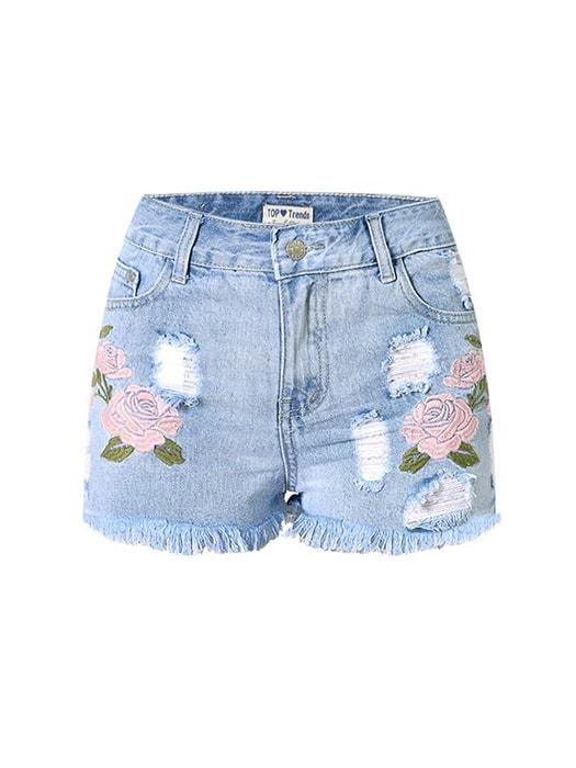 Embroidered High Waist Denim Shorts With Distressing
