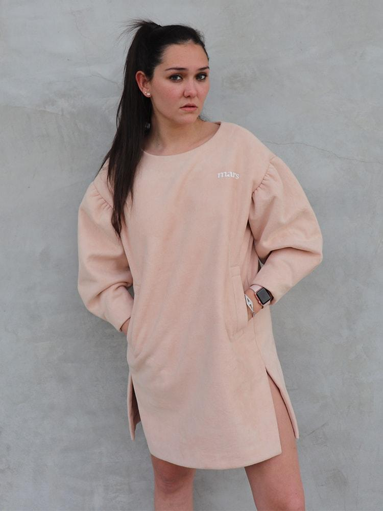 Chamois Sweater Jumper Dress With Arm Details In Pink
