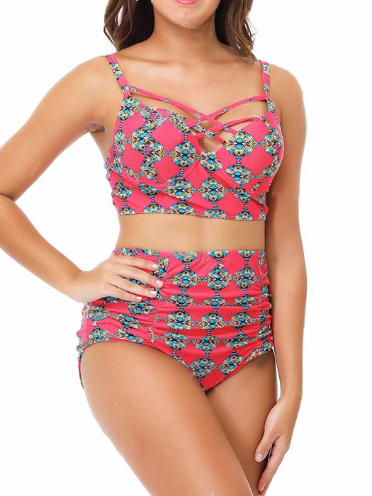4930fbbfb8 Front Cross Gathered Print Two-piece Swimming Suit – WhatsMode