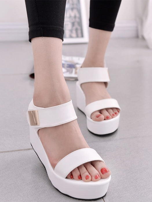 093048315e1d90 Casual Ankle Strap Buckle Platform Wedge Sandals – WhatsMode