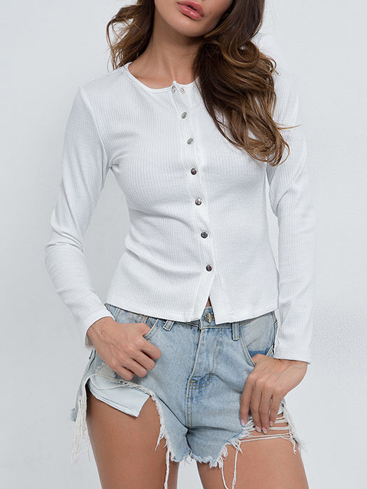Women Sexy Slim Elastic Long Sleeve Knitted Pullover Shirt