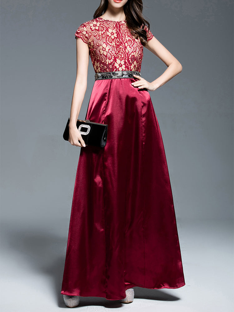 Scoop neck  Lace&Silk Formal Evening Dress