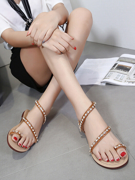 4e0573e27 Rhinestone Studded Strappy Toe Ring Flat Sandal – WhatsMode