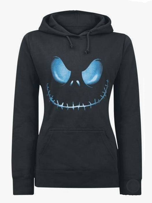 Women Casual Active Hooded Skull Printed Black Hoodies Pullover