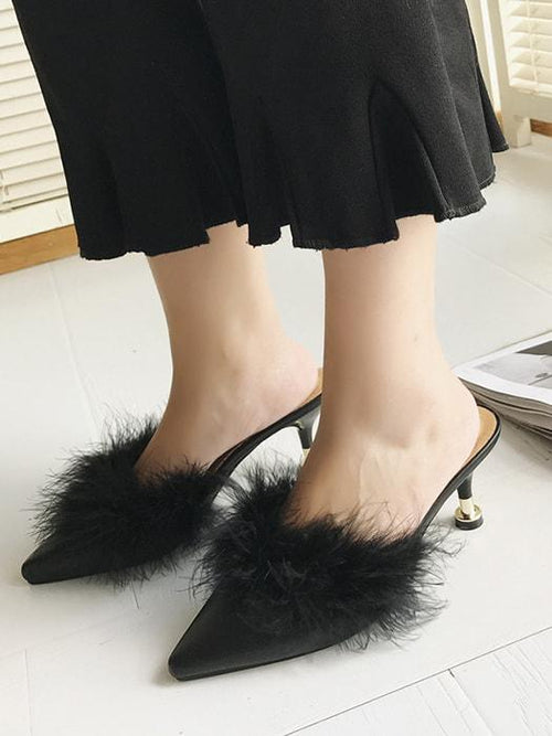 Puffy Head High Heel Slippers