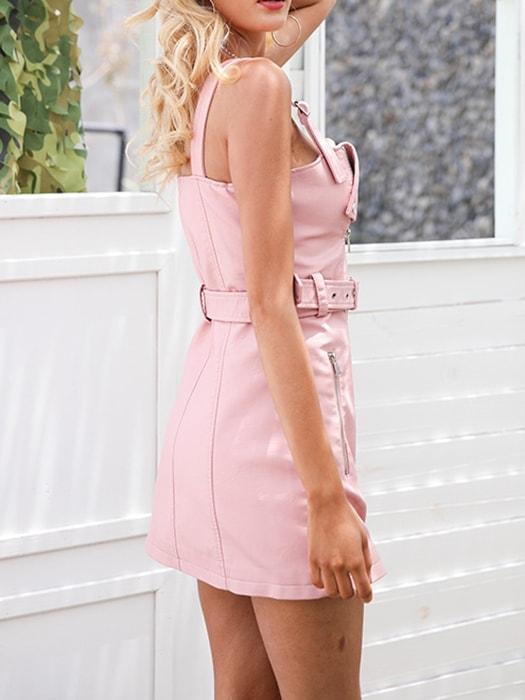 Solid Color Strappy PU Dress