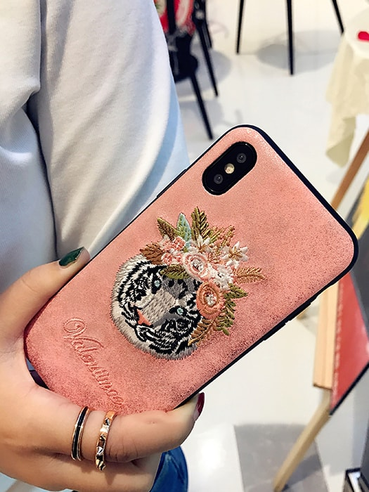Detailed Flamingo/Tiger Head Embroidery Phone Case - Iphone 6/6s / Tiger head 15330