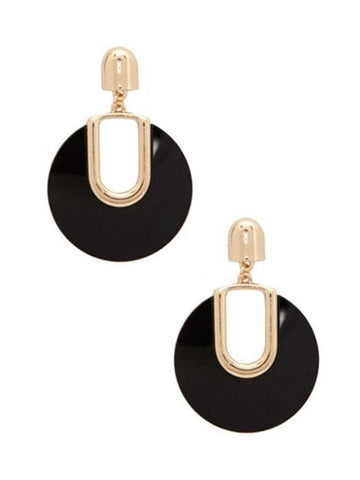 Golden Gridding Drop Earrings