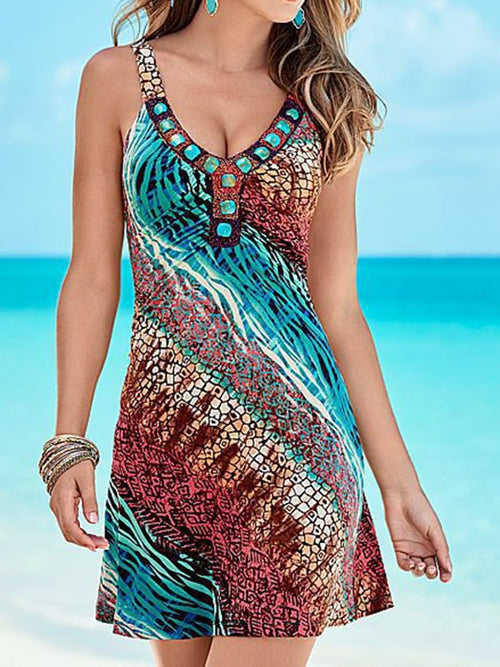 fcb2744472 Colorful Print Sleeveless Strap Dress